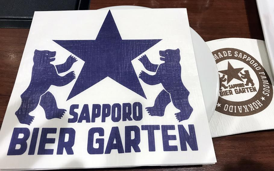 Place settings at Sapporo's Bavarian-style beer garden in Japan.