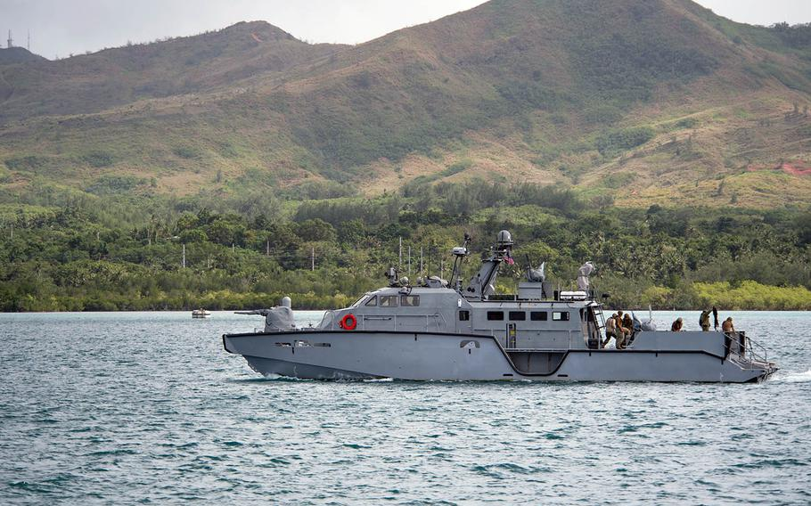 Sailors of Coastal Riverine Group 1, Detachment Guam, completed a 500-nautical-mile transit aboard two Mark VI patrol boats, including the one shown here, Dec. 28-29, 2018.