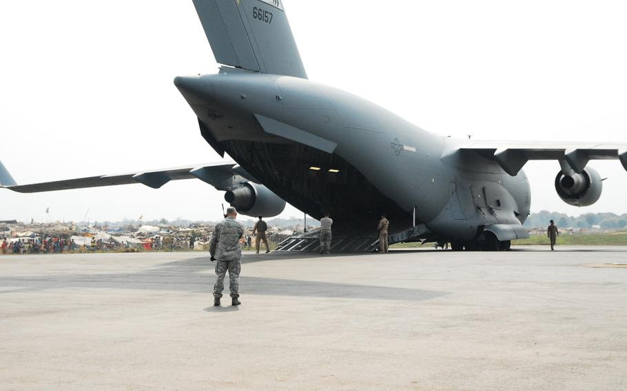 U.S. Air Force personnel unload equipment from a C-17 Globemaster III for use during the transport of Rwandan soldiers in Bangui, Central African Republic in 2014 in support of an African Union effort to quell violence. Now, Russia is getting more involved in the country, where there is discussion about a possible Russian base.