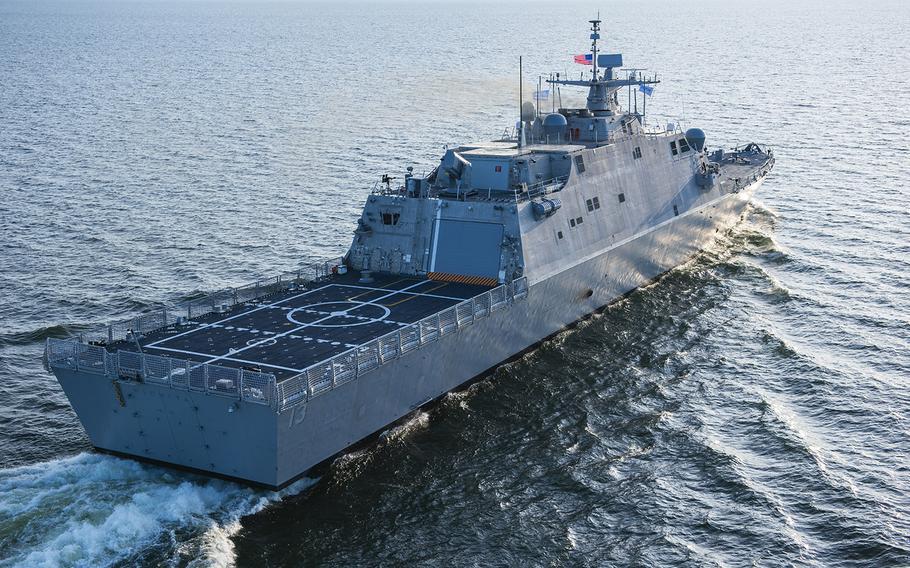 The future littoral combat ship USS Wichita conducts acceptance trials in Lake Michigan, July 11, 2018.