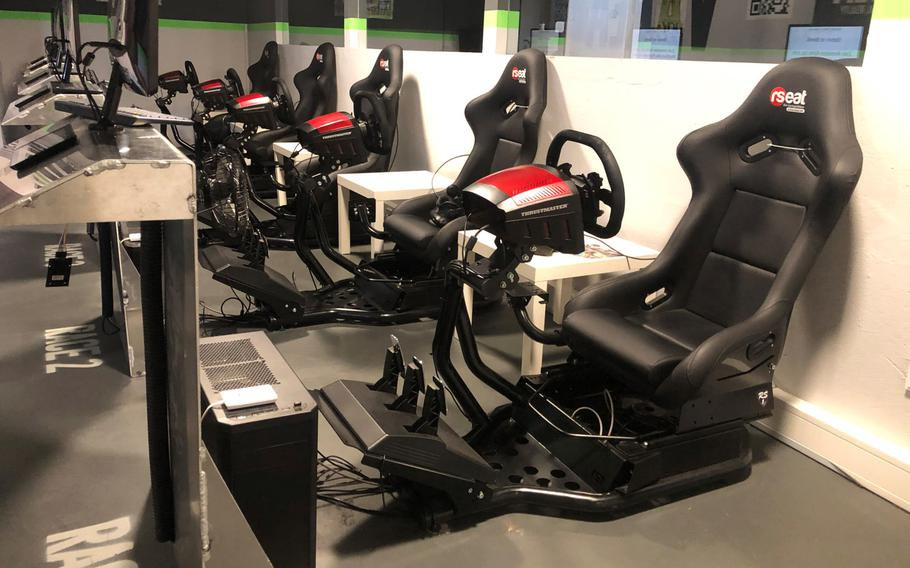 VArea, a virtual reality gaming experience located in Mainz, Germany, allows customers to experience virtual reality in different gaming environments such as these racing simulators on Jan. 8.