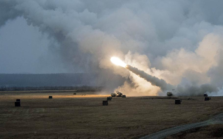 Soldiers fire a M142 High-Mobility Artillery Rocket System during Red Flag drills at Fort Greely, Alaska, Oct. 19, 2018.