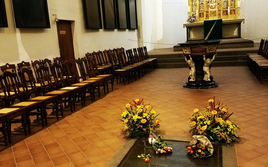 The tomb of Johann Sebastian Bach in Leipzig, Germany.