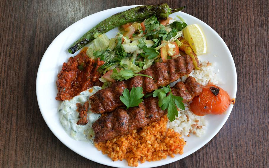 Spicy Adana kebabs, as served at the Istanbul Kebap Haus in Kaiserslautern. The kebabs are prepared perfectly with all the sides you would find at any sitdown kebab restaurant in Turkey.