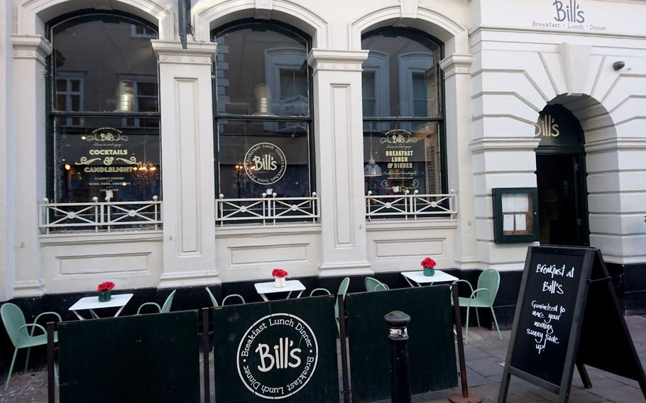 Outside of Bill's Restaurant in Bury St Edmunds, England, Feb. 26. Bill's offers a cornucopia of menu choices from all over the world along with several vegetarian options in 81 locations throughout England, Wales and Scotland.