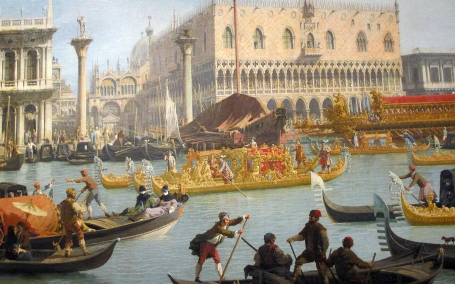 """This famous Canaletto painting of Venice is among many beautiful works in a blockbuster exhibition at  the Palazzo Chiericati of 18th century Venetian painters. Titled """"The Triumph of Color,"""" it is at the museum in Vicenza through May 5."""