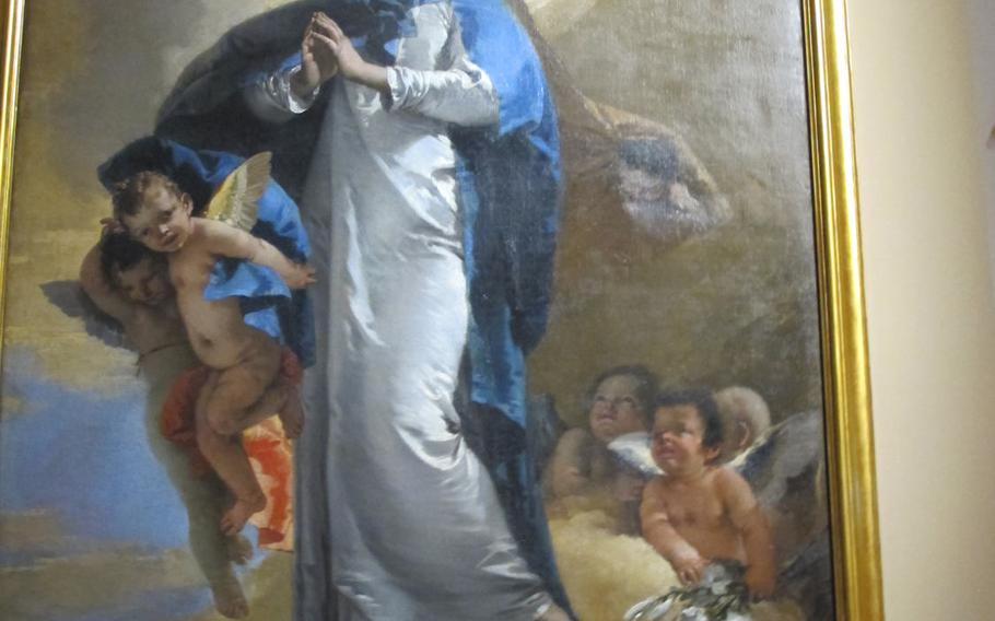 """Tiepolo's """"The Immaculate Conception,"""" featuring the virgin Mary's perfect oval face, was painted for a Franciscan order that fervently supported the dogma of the Immaculate Conception. It is on display at the Palazzo Chiericati museum in Vicenza."""