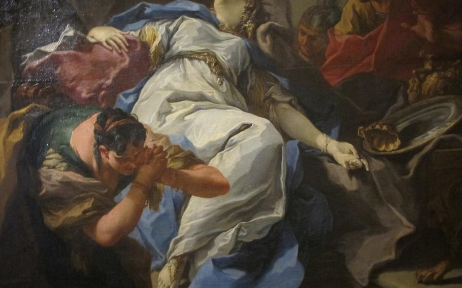''The Death of Sofonisba,'' by Giovanni Battista Pittoni explores the story of a young Carthaginian woman, the daughter of a general in the Punic Wars, whose new husband persuaded her to drink a cup of poison rather than be paraded as war booty by the victorious Romans. It is on display at the Palazzo Chiericati museum in Vicenza.