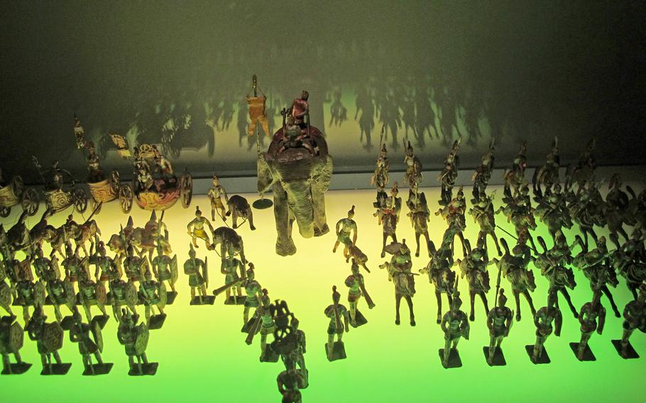 These toy soldiers  represent the last decisive episode -- the crushed rebellion of Indian troops in the Bengal Army against British officers -- that resulted in the conquest of India in 1877. The toy soldiers are part of a massive collection of antique toys at the Palazzo Chiericati museum in Vicenza.