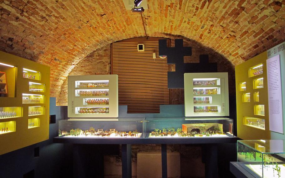 One of several rooms of toy soldiers on display in the basement of the Palazzo Chiericati museum in Vicenza. The soldiers are part of an exhibition of thousands of pristine antique toys.