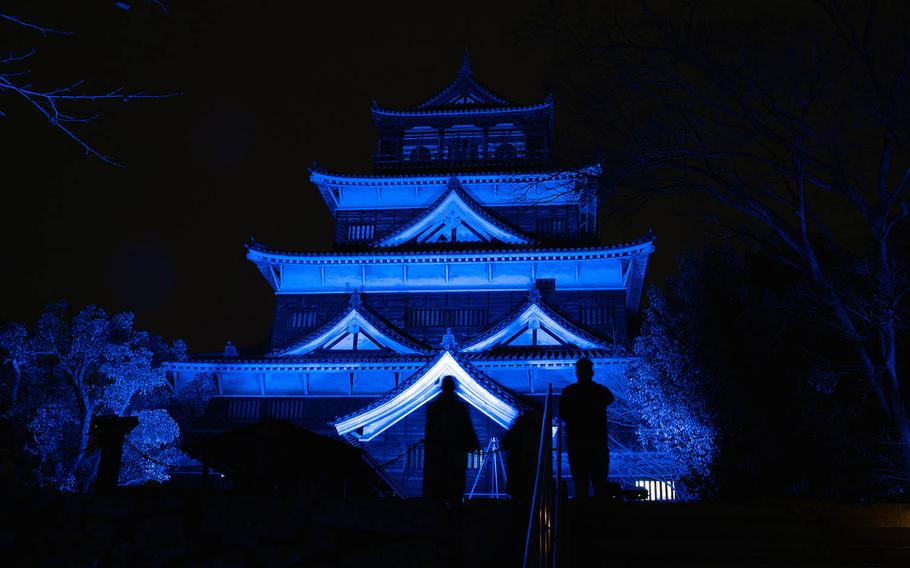 Hiroshima Castle, in Japan, glows in the dark Feb. 27 during an art show commemorating the 400th anniversary of the Asano clan taking ownership of the castle and surrounding lands.
