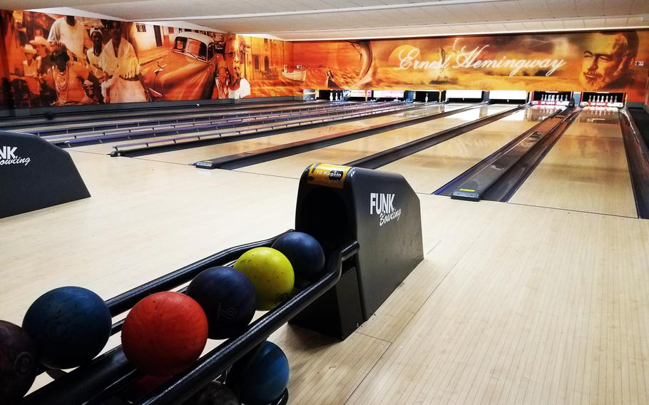 The bowling alley at the Hemingway Cafe in Weiden, Germany.