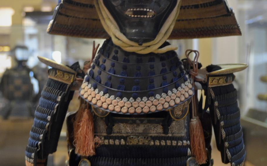 Samurai armor from the 18th century on display in the Self-Defense gallery at the Leeds Royal Armouries Museum in Leeds, England. During the second half of the 18th century, it became fashionable for Japanese nobles to have armor made in ancient styles.