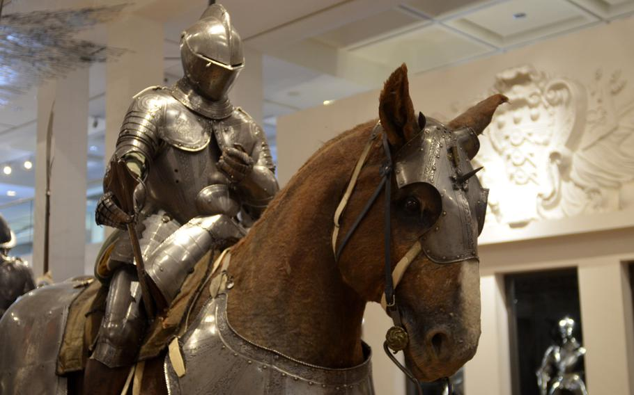 North Italian knight and calvary armor from about 1570 on display in the War gallery at the Leeds Royal Armouries Museum in Leeds, England. Full horse armor was mostly used for parades instead of battles toward the end of the 16th century.