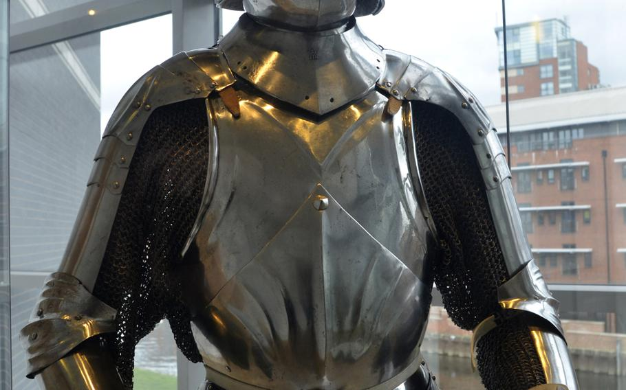 A partial set of Italian Milanese armor from the late 15th century on display in the War gallery at the Leeds Royal Armouries Museum in Leeds, England. This type of armor was made in Italy for export to Germany and western Europe.