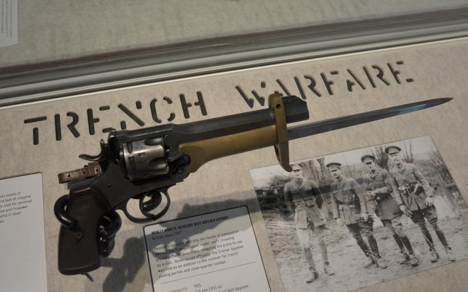 A British Mark VI revolver with a Greener bayonet from about 1917 on display in the War gallery at the Leeds Royal Armouries Museum in Leeds, England. The bayonet wasn't officially issued, but was sold as an addition to the revolver for trench raiding parties in the World War I.