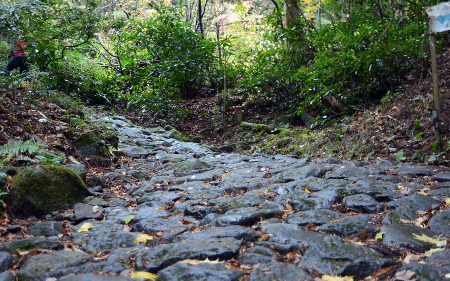 Portions of the original stone-paved path that formed the Old Tokaido Road still exist today.