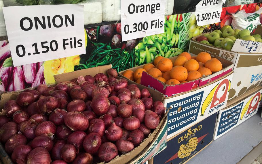 Fruits and vegetables are ready for purchase at a produce shop in Qudaibiya, Bahrain.