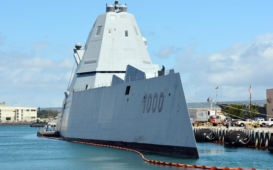 The guided-missile destroyer USS Zumwalt moored at Joint Base Pearl Harbor-Hickam, Hawaii, where it arrived April 2, 2019, for testing in nearby waters.