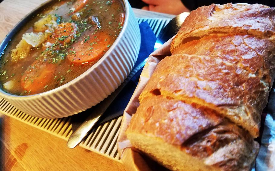 The Irish stew and bread at the Irish Pub in Grafenwoehr, Germany.
