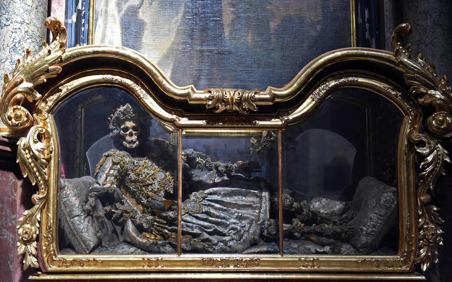 One of the skeletons in the Waldsassen Basilica, in Waldsassen, Germany, Wednesday, April 3, 2019.