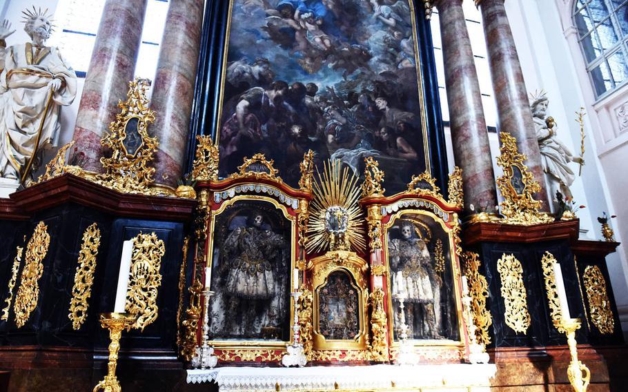 A pair of skeletons inside the Waldsassen Basilica, in Waldsassen, Germany.