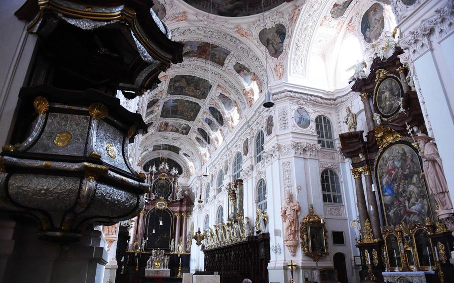 Inside the Waldsassen Basilica, in Waldsassen, Germany, Wednesday, April 3, 2019.