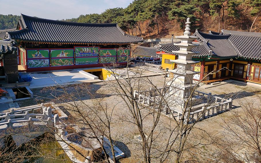 An open courtyard provides a magnificent view of everything Mangisa Temple has to offer.