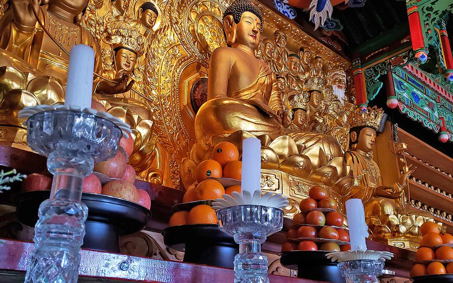 South Korea's 567th National Treasure, The Iron Seated Buddha of Mangisa Temple at the Mangisa Buddhist Temple in Jinwi, South Korea, on March 22.