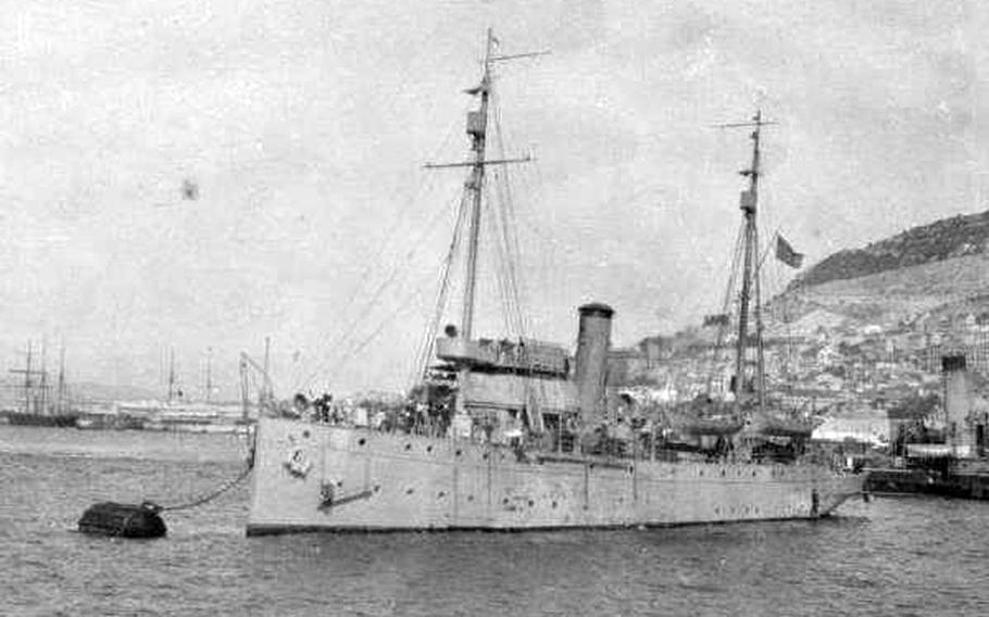An undated photo of the USS Tampa in Gibraltar. During World War I, the Coast Guard cutter served as an ocean convoy escort. The Tampa was torpedoed by a German submarine on Sept. 26, 1918 after successful completing 18 previous convoy escorts.