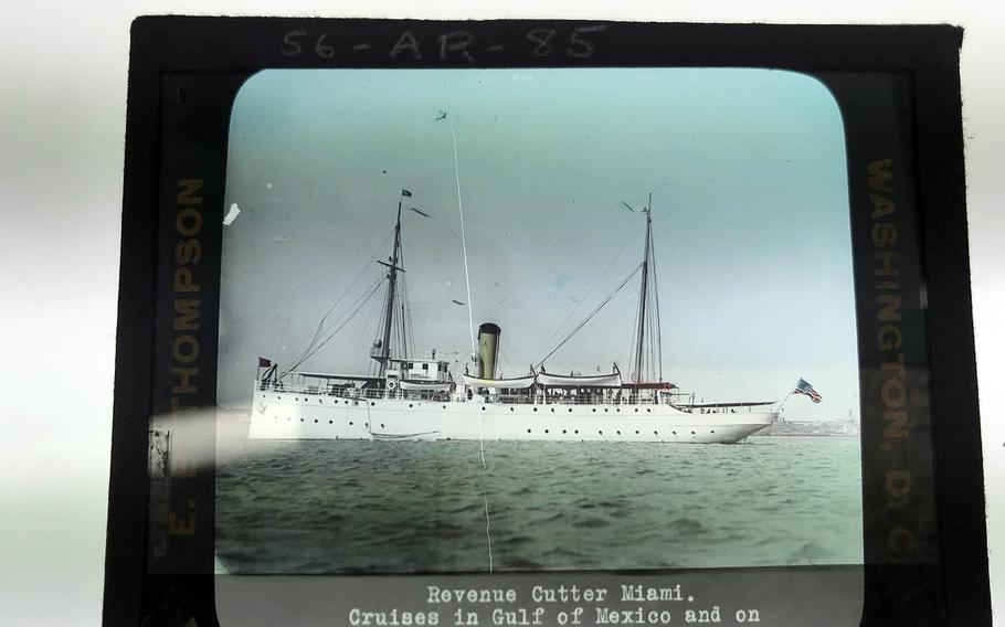 This color lantern slide shows the USS Tampa under its original name, the USS Miami, circa 1912-1915. Originally built for hurricane duty in Florida, the ship became an ice cutter, then joined the war effort in World War I as an ocean convoy escort. A German submarine sank the Tampa on Sept. 26, 1918.