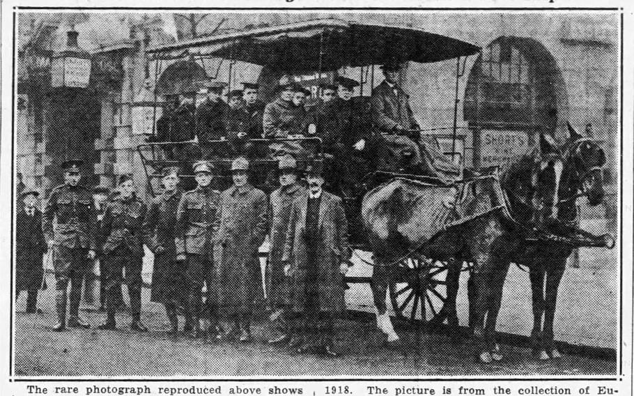 This photo, published in the Tampa Daily Times on Sept. 26, 1934, shows the Tampa's crew seated in a wagon on their last shore leave before the ship sank on Sept. 26, 1918. Eugene Johnson, a member of the Tampa's crew who left the ship two months prior to its sinking for medical treatment, provided the image to the newspaper.