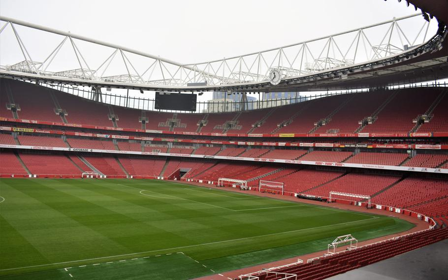 A view overlooking the field at Emirates Stadium in London, home of the soccer club Arsenal. The stadium was completed in 2006, replacing the team's nearby former home, called Highbury.