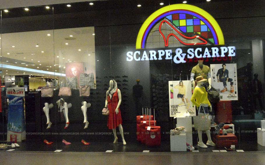 Scarpe & Scarpe, a well-known Italian shoe store located inside the Cone shopping center, right off route SS13 in Conegliano, Italy. The shopping center is a 30- to 45-minute drive away from Aviano Air base and a great shopping option.