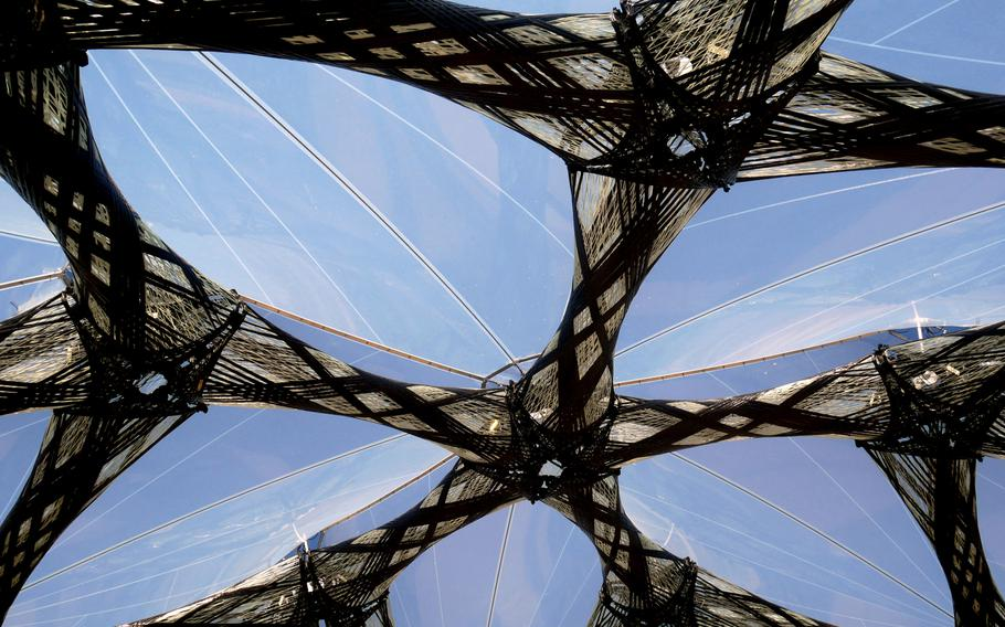 A closeup of the Faserpavillon, or fiber pavilion, at the Bundesgartenschau in Heilbronn, Germany. It is made of glass and carbon fibers.