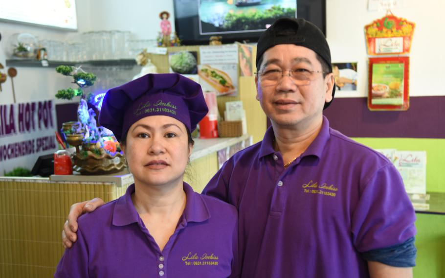 Wife and husband Thi My Hanh and Hoa Hiep Nguyen, left to right, cook authenthic south Vietnamese dishes at their restaurant, Lila, in Kaiserslautern, Germany.
