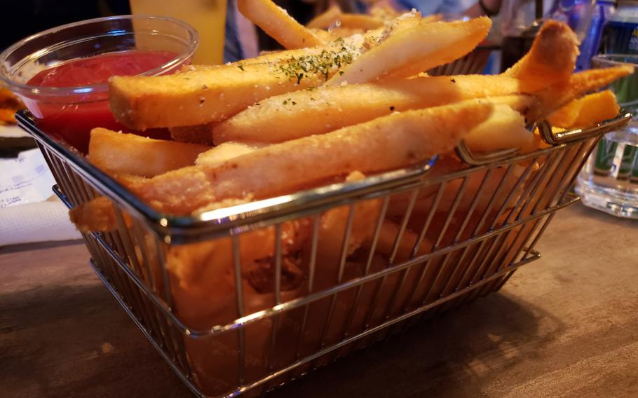 A side order of seasoned french fries from Go Boogie Mexican Pub and Grill in Pyeongtaek, South Korea.
