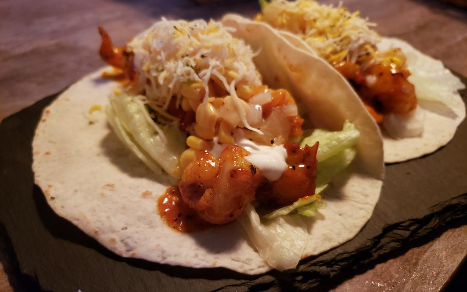 The Cajun Shrimp Tacos from Go Boogie Mexican Pub and Grill in Pyeongtaek, South Korea.