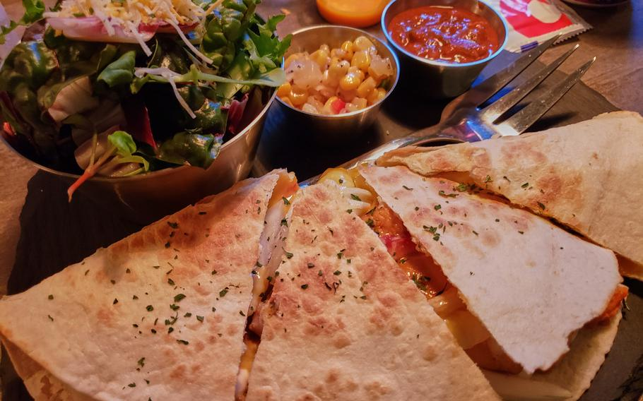 The Red Chicken, Sweet Potato Quesadilla available at the Go Boogie Mexican Pub and Grill in Pyeongtaek, South Korea.   Matthew Keeler/Stars and Stripes
