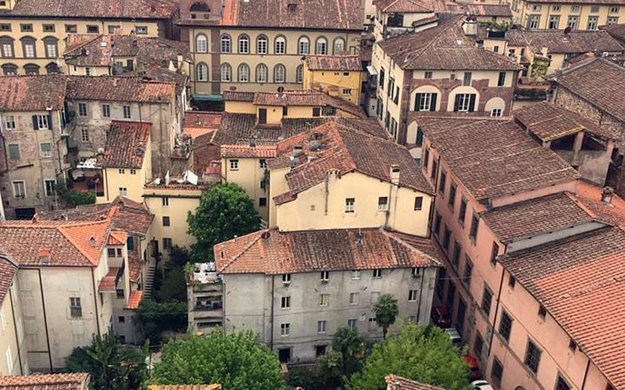 Lucca, a walled city in a hilly part of Tuscany, is a great place to shop and stroll. A couple of towers in the city offer sweeping views.