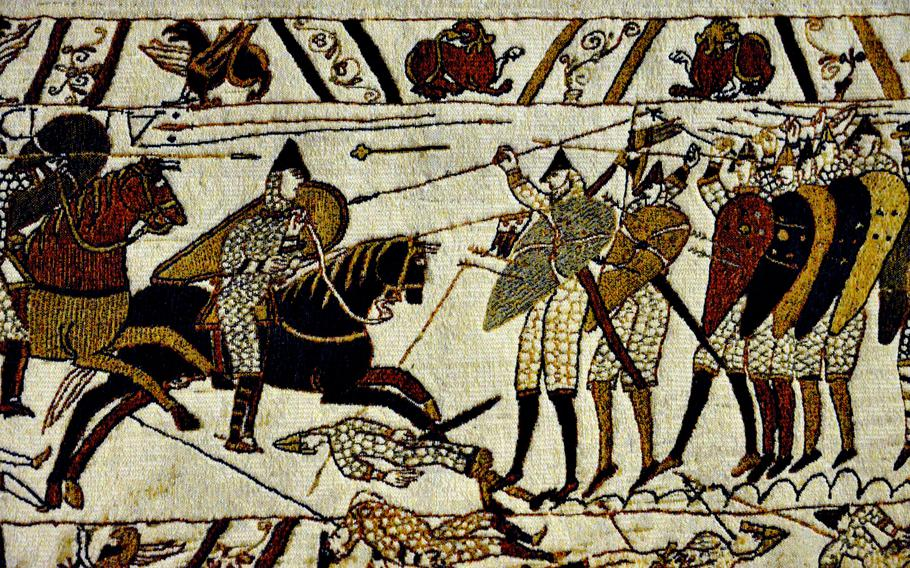 You can't take photos of the Bayeux Tapestry, but you can buy woven replicas of sections of it at the museum gift shop. This one, depicting the Battle of Hastings, costs a pretty penny at 299 euros. But cheaper versions can be found. The tapestry is an 11th-century embroidery of wool yarn on woven linen, 230 feet long and 20 inches tall. It recounts the tale of the conquest of England in 1066, by William the Conqueror.
