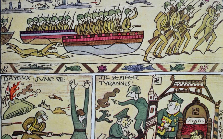 This poster in Bayeux depicts the 1944 D-Day invasion, done in the style of the 11th-century Bayeux Tapestry. It was the cover of ''The New Yorker,'' July 15, 1944.