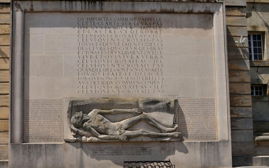This monument to the deportees, civilian victims and the resistance is on the back side of Bayeux, France's city hall.