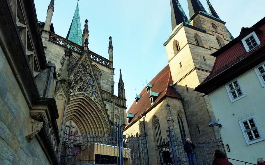 The St. Mary's Cathedral in Erfurt, atop a small hill overlooking the main town square.