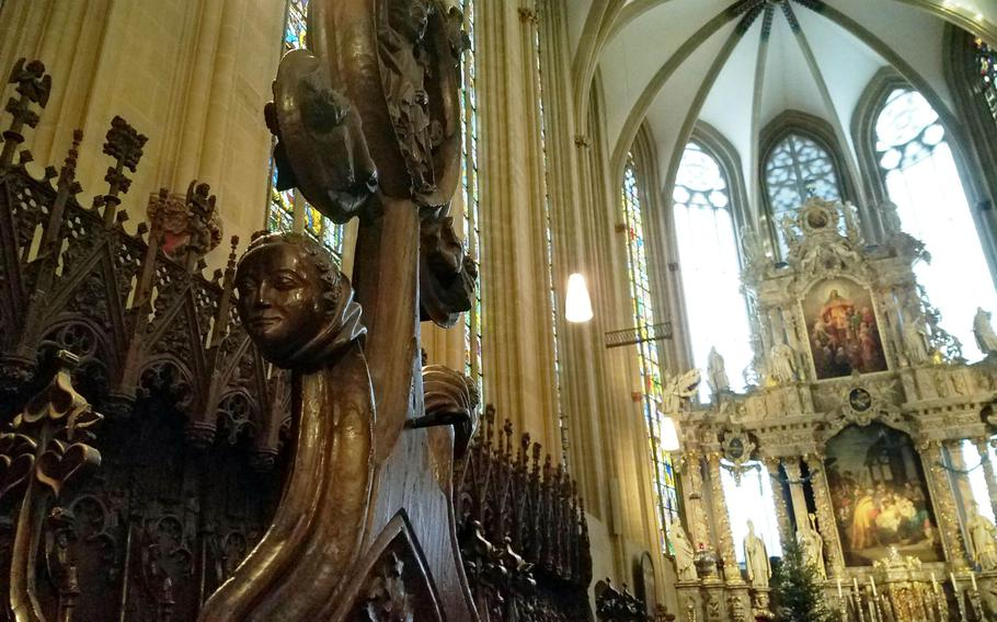 The intricately carved interior of the St. Mary's Cathedral in Erfurt, Germany.