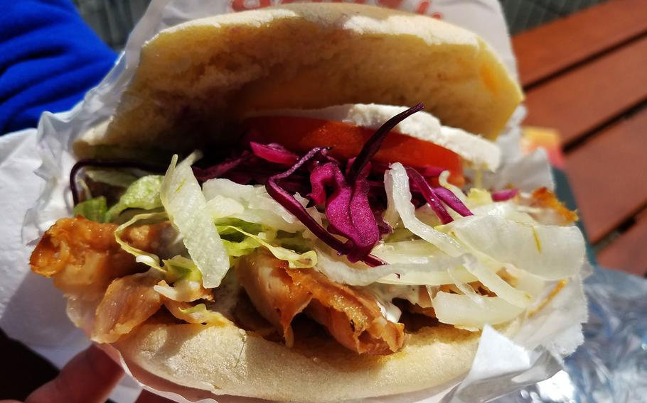 A doner kebab from Marmaris Grill, in Grafenwoehr, Germany, Thursday, May 23, 2019.