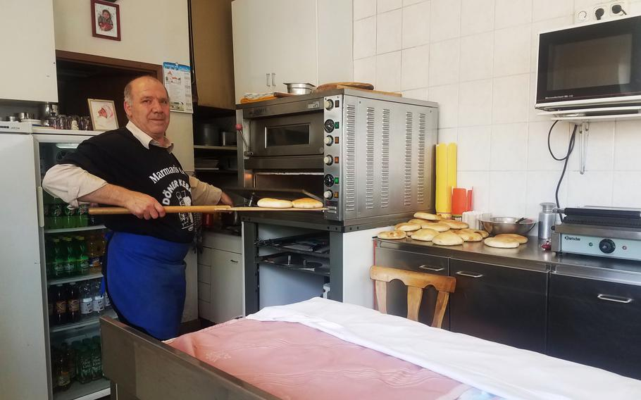 The head doner-maker at Marmaris Grill in Grafenwoehr, Germany, Thursday, May 23, 2019.