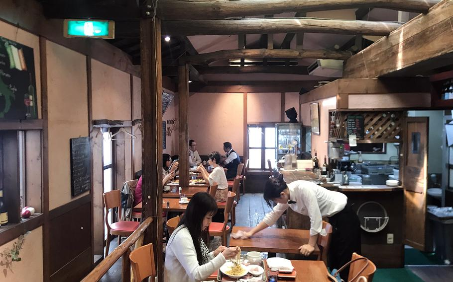 The rustic-looking interior at Pizzeria La Soffitta contrasts starkly to the hustle and bustle of Shibuya, one of the busiest neighborhoods in Tokyo.