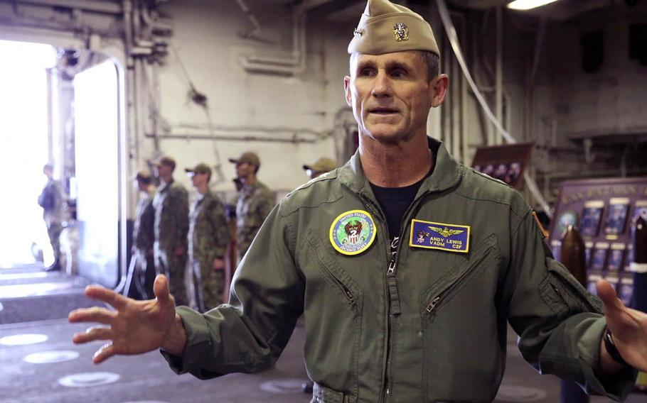Vice Adm. Andrew Lewis, the 2nd Fleet commander, speaks to reporters aboard the USS Bataan at Naval Station Norfolk in Virginia on April 26, 2019.