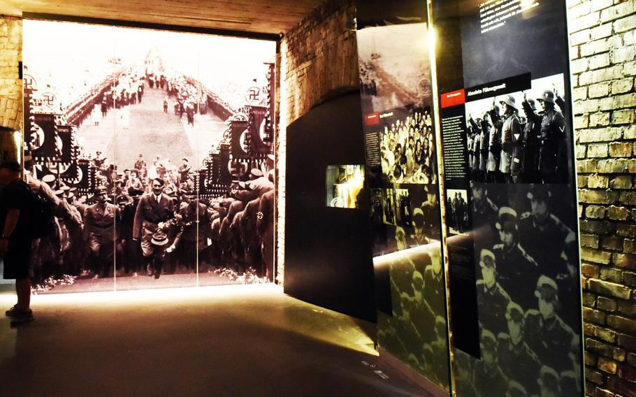 An exhibit inside the museum of the Documentation Center Nazi Party Rallying Grounds, showing the Nazi Rallies in Nuremberg, Germany.